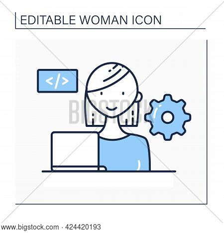 Woman Software Engineer Line Icon.source Code. System Maintenance And Development. Computer Programm