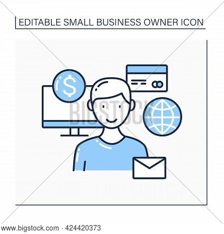 Ecommerce Business Line Icon. Digital Economy. Financial And Trading Transactions Through Computer N