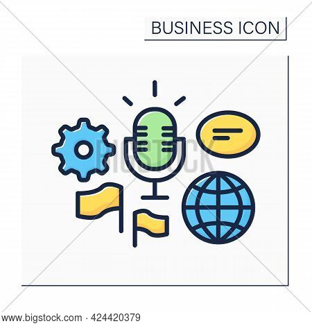 Global Forum Color Icon. Representing New Business Ideas On International Forum. Communication And D