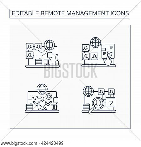 Remote Command Management Line Icons Set. Virtual Office, Interactive Documents, Work Conditions, Da
