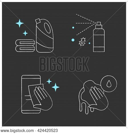 Surface Disinfection Chalk Icons Set.phone Disinfection, Wet Cleaning, Antibacterial Spray. Home, Pu