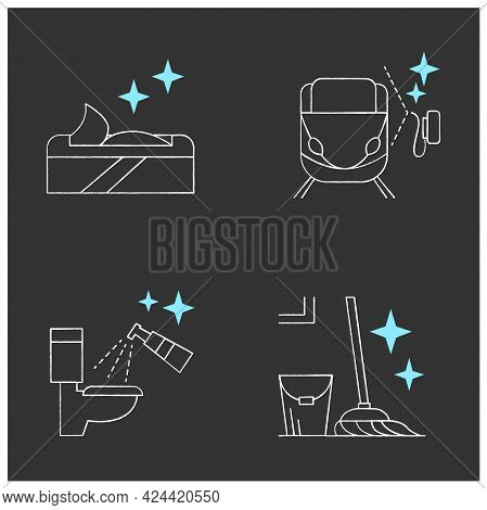 Surface Disinfection Chalk Icons Set.toilet, Train Disinfection. Wet Wipes, Mopping. Home, Public Ar