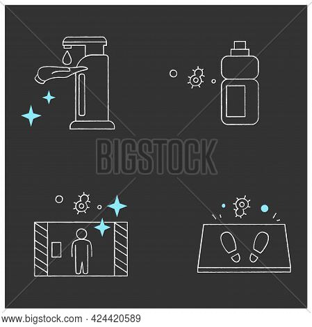 Surface Disinfection Chalk Icons Set.disinfection Tunnel, Mat, Sanitizer Bottle. Home, Public Areas,