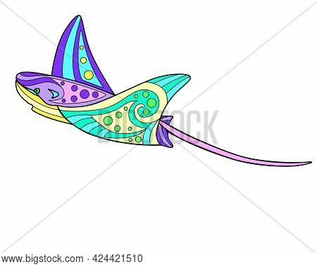 Electric Stingray - Vector Linear Full Color Zentangle Illustration - With Sea Animal Living In The