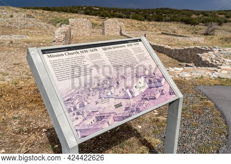 New Mexico, Usa - May 7, 2021: Mission Church Ruins At Gran Quivira Ruins, An Historical Spanish Mis