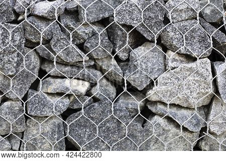 Drainage From Stones And Metal Mesh. Gabion.