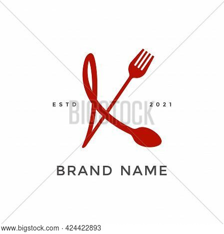 Simple, Modern And Unique Illustration Logo Design Initial K Combine With Fork And Spoon. Logo Recom