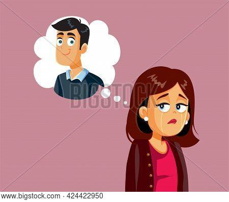 Sad Crying Woman Thinking Of Her Love Crush