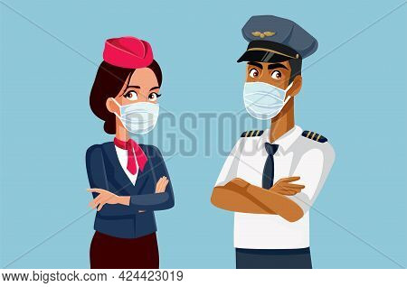 Airline Crew Wearing Medical Face Mask During Pandemic