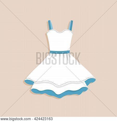 Lovely Feminine Elegant Beautiful White And Blue Dress. Trendy Dresses Icon. Women Cloth Element. Fe