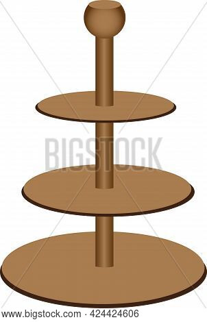 Wooden Stand For Fruits And Snacks. Vector Illustration.
