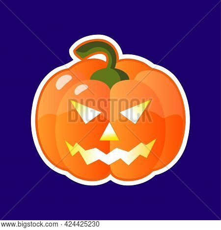 Halloween Pumpkin Head With Scary Face Isolated On White Background Vector. Jack-o-lantern. Glowing