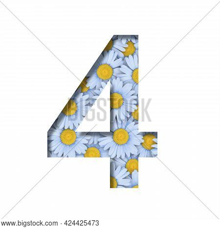 Daisy Flower Font. Digit Four, 4 Is Cut Out Of Paper On The Background Of A Pattern Of Lovely Blue D
