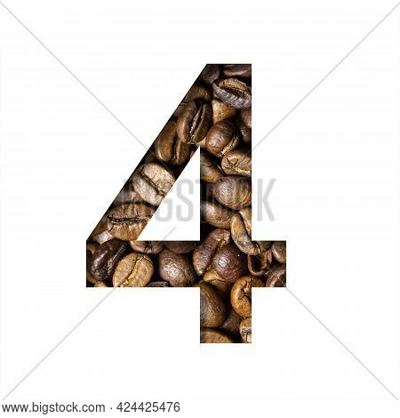 Coffee Beans Font. The Digit Four, 4 Is Cut Out Of Paper On The Background Of Roasted Beans Of Excel