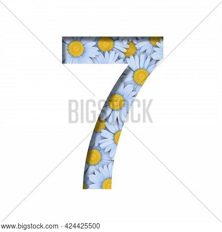 Daisy Flower Font. Digit Seven, 7 Is Cut Out Of Paper On The Background Of A Pattern Of Lovely Blue