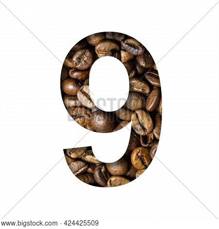 Coffee Beans Font. Digit Nine, 9 Is Cut Out Of Paper On The Background Of Roasted Beans Of Excellent