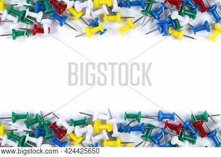 Office Pushpins On White, Stationery Or Office Goods Banner Concept.