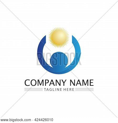 People Logo, Team, Succes People Work, Group And Community, Group Company And Business Logo Vector A