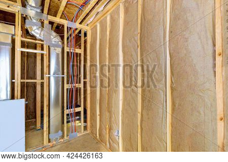 Heat Isolation In A Construction And Renovation New House With Mineral Wool, Wood Home