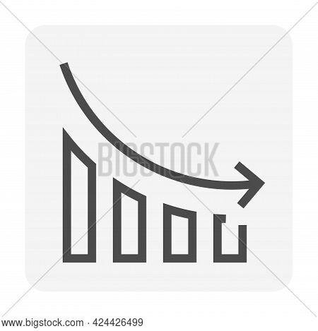 Bar Chart Or Bar Graph Decreasing Vector Icon With Drop Down Arrow. Statistical Data Of Stock, Finan