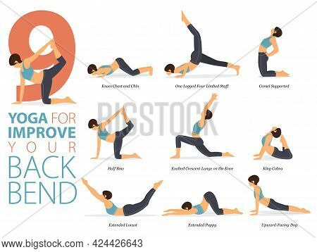 Infographic 9 Yoga Poses For Workout At Home In Concept Of Improve Back Bend In Flat Design. Women E