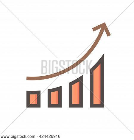 Bar Chart Or Bar Graph Increasing Vector Icon With Up Arrow. Statistical Data Of Stock, Financial In
