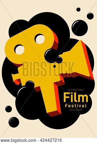 Movie And Film Poster Design Template Background With Vintage Film Camera. Can Be Used For Backdrop,