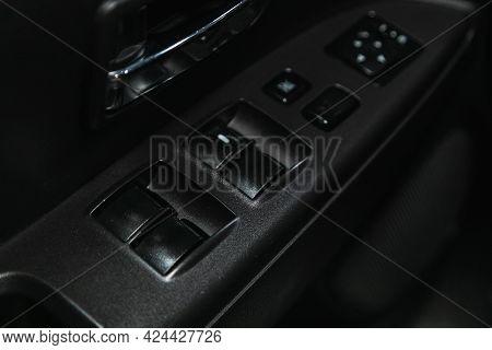 Novosibirsk, Russia - June 19, 2021: Mitsubishi Asx, Close Up Of A Door Control Panel In A New Car.