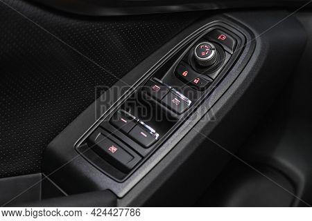 Novosibirsk, Russia - June 19, 2021: Subaru Xv,  Close Up Of A Door Control Panel In A New Car. Arm