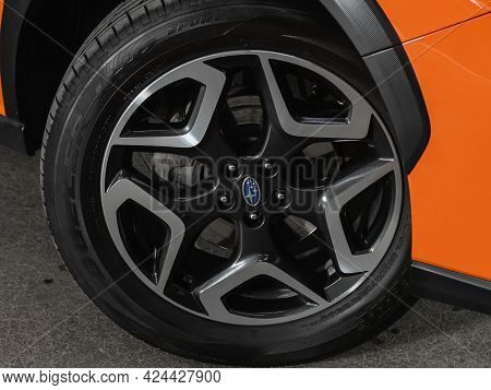 Novosibirsk, Russia - June 19, 2021: Subaru Xv, Close-up Of The Alloy Wheel. Photography Of A Modern