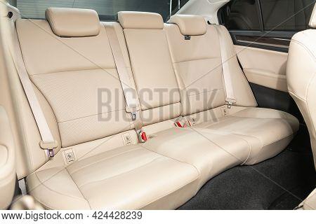 Novosibirsk, Russia - June 19, 2021: Subaru Legacy, Leather Interior Design, Car Passenger  Seats Wi