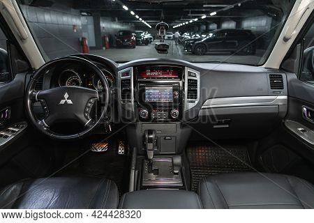 Novosibirsk, Russia - June 19, 2021: Mitsubishi Pajero, Steering Wheel, Shift Lever, Multimedia  Sys