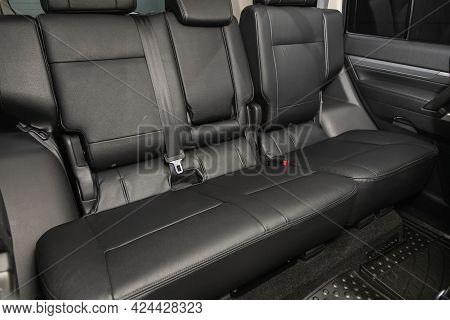 Novosibirsk, Russia - June 19, 2021: Mitsubishi Pajero, Leather Interior Design, Car Passenger  Seat