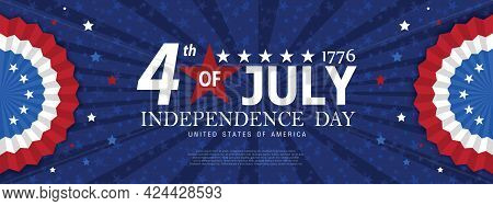 United States Of America Happy Independence Day Greeting Card, Banner, Horizontal Vector Illustratio