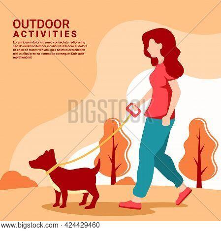 Woman Walking Dog On Leash. Girl Leading Pet In Park Illustration