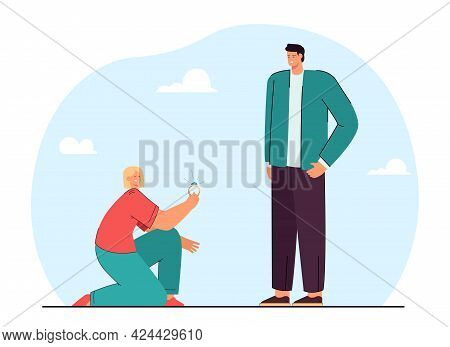 Girl Proposing To Man Flat Vector Illustration. Girlfriend Kneeling And Offering Engagement Ring To