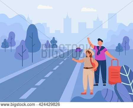 Man And Woman Hitchhiking On Road Flat Vector Illustration. Tourists With Backpack Thumbing Up, Tryi
