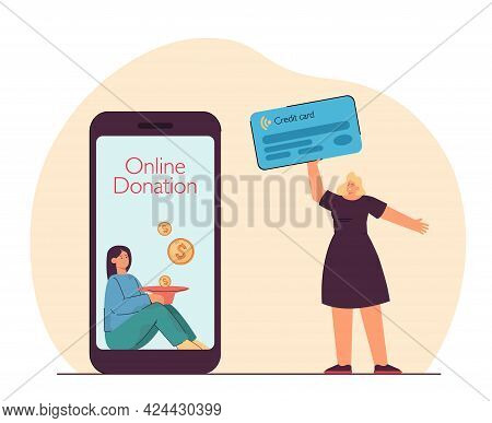 Happy Girl Holding Credit Card, Making Donation Online Female Person Making Payment Through Mobile A