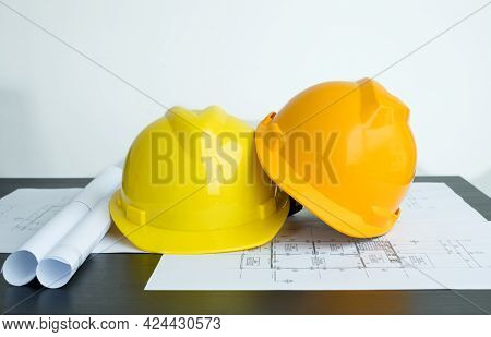 Safety Helmet For Engineer And Architect And Drawing Construction Plans, Printing, Writing On-site C