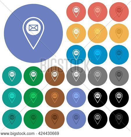 Gps Location Send Mail Multi Colored Flat Icons On Round Backgrounds. Included White, Light And Dark