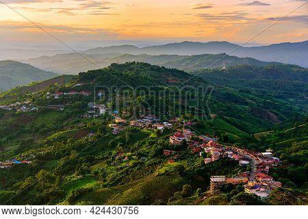 Aerial View Mae Salong Village In Early Morning Doi Mae Salong, Chiang Rai, Thailand.