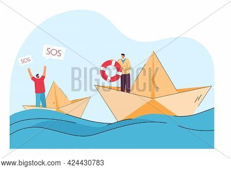 Tiny Man On Paper Ship At Sea Asking Friend For Help. Male Person With Lifebuoy Trying To Help Flat