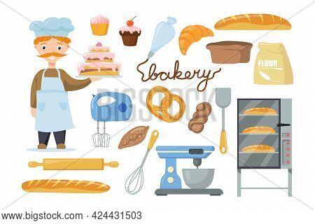 Baker Character With Equipment For Kids Vector Illustrations Set. Male Character Holding Cake, Bag O