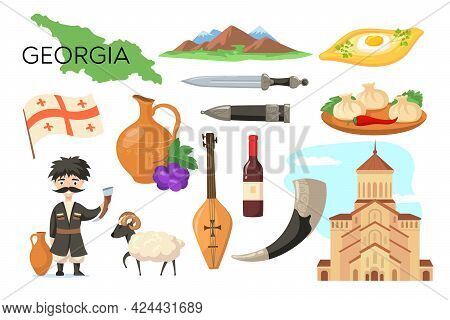 Traditional Symbols Of Georgia Cartoon Vector Illustration. Tbilisi, Mountains, Daggers, Wine, Potte