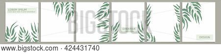 Set Of Vector Cover Notebook Design. Abstract Floral Template Design With Green Leaves On White Back
