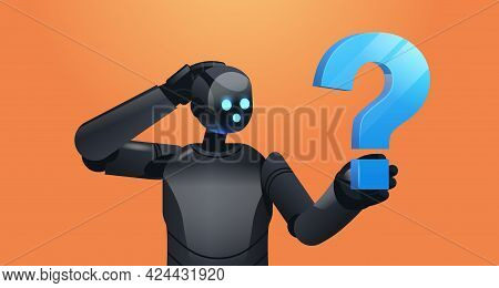 Frustrated Black Robot Cyborg Holding Question Mark Help Support Service Faq Problem Artificial Inte
