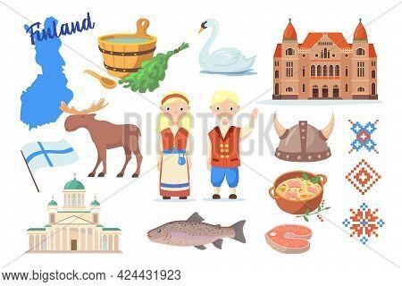 Traditional Symbols Of Finland Cartoon Vector Illustration. Finnish Map, Flag, Sauna, Fish, Elk, Nat