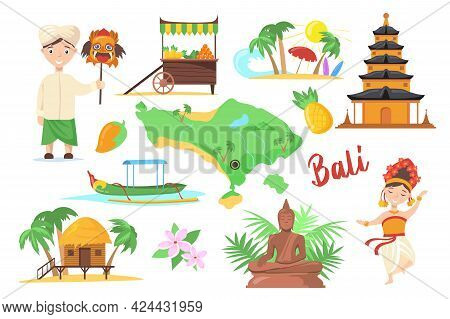 Traditional Symbols Of Bali For Travelers. Cartoon Vector Illustration. Indonesian Temple, Island Fr