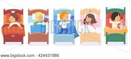 Set Of Children Sleeping In Beds. Cartoon Vector Illustration. Little Boys And Girls Falling Asleep,
