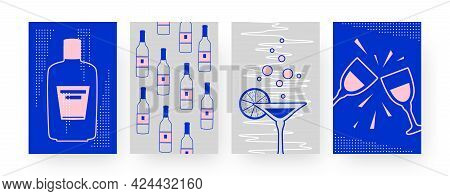 Set Of Contemporary Art Posters With Alcohol Bottles. Margarita, Clinking Glasses Vector Illustratio